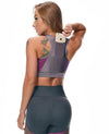Luxe V-Neck Racerback Sports Bra with Phone Pocket - Purple