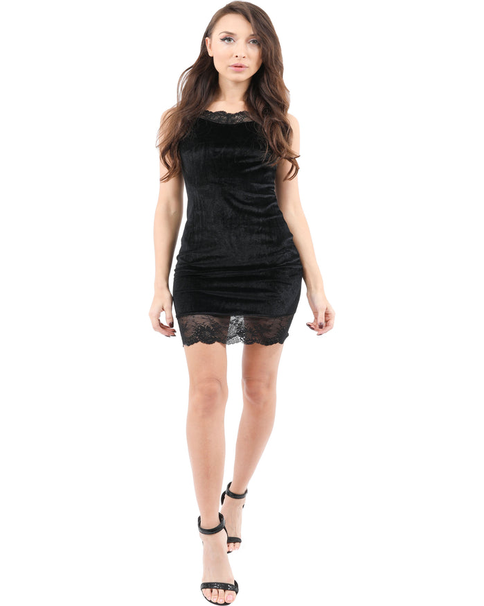 Load image into Gallery viewer, Royce Velvet Mini Dress with Lace Detail