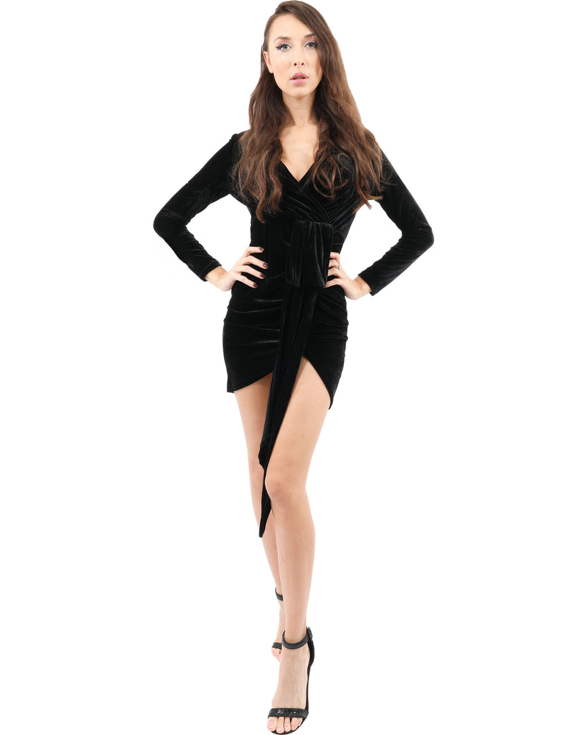 Denbigh High-Low Mini Dress - Black