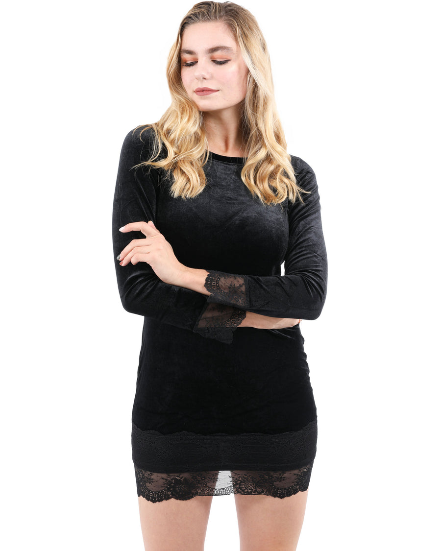 Endrino Long Sleeve Lace Detail Velvet Mini Dress