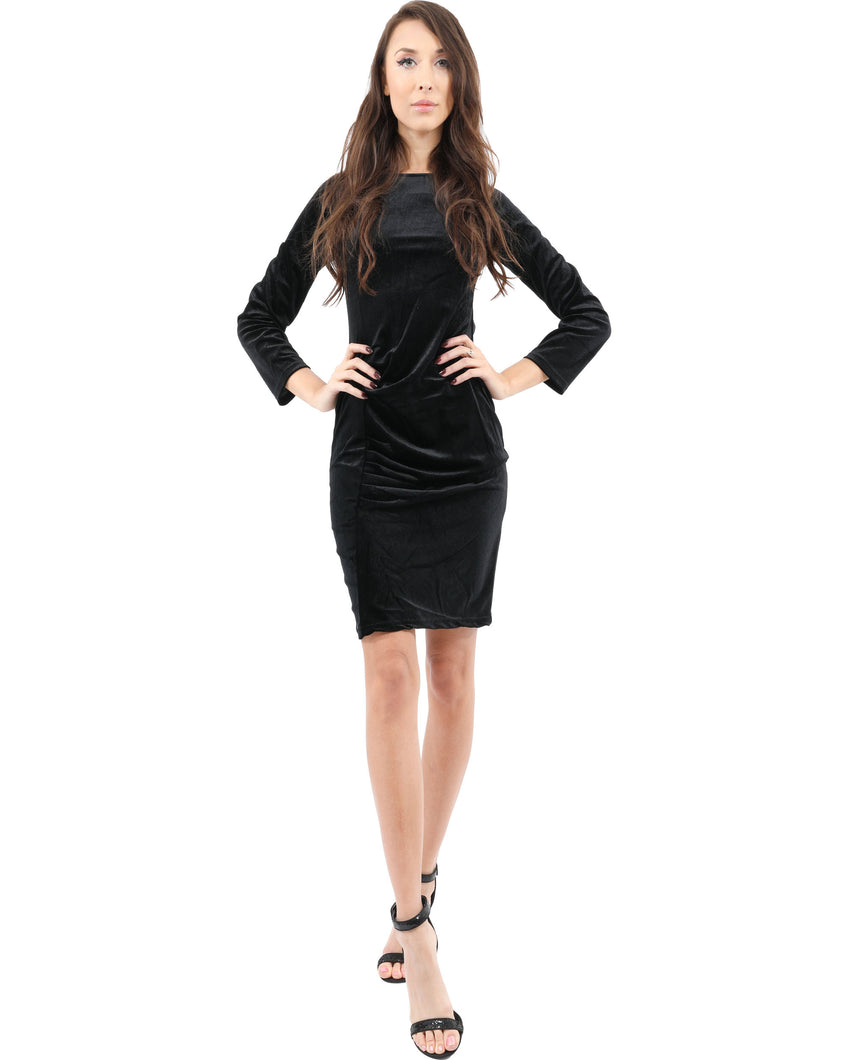 Stuart Velvet Long Sleeve Little Black Dress
