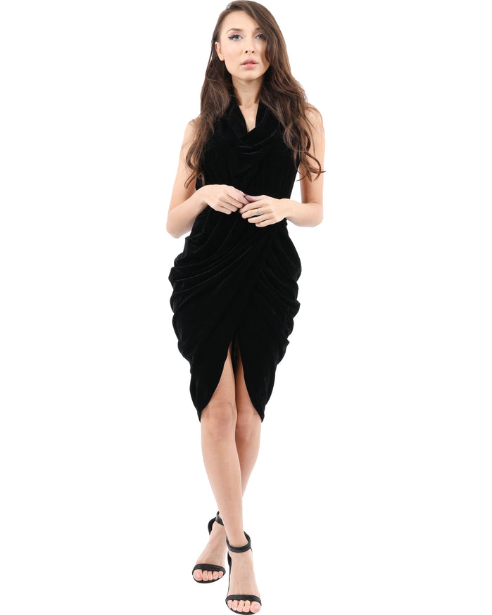 Load image into Gallery viewer, Lawrence Ruched Detail Sleeveless Velvet Dress