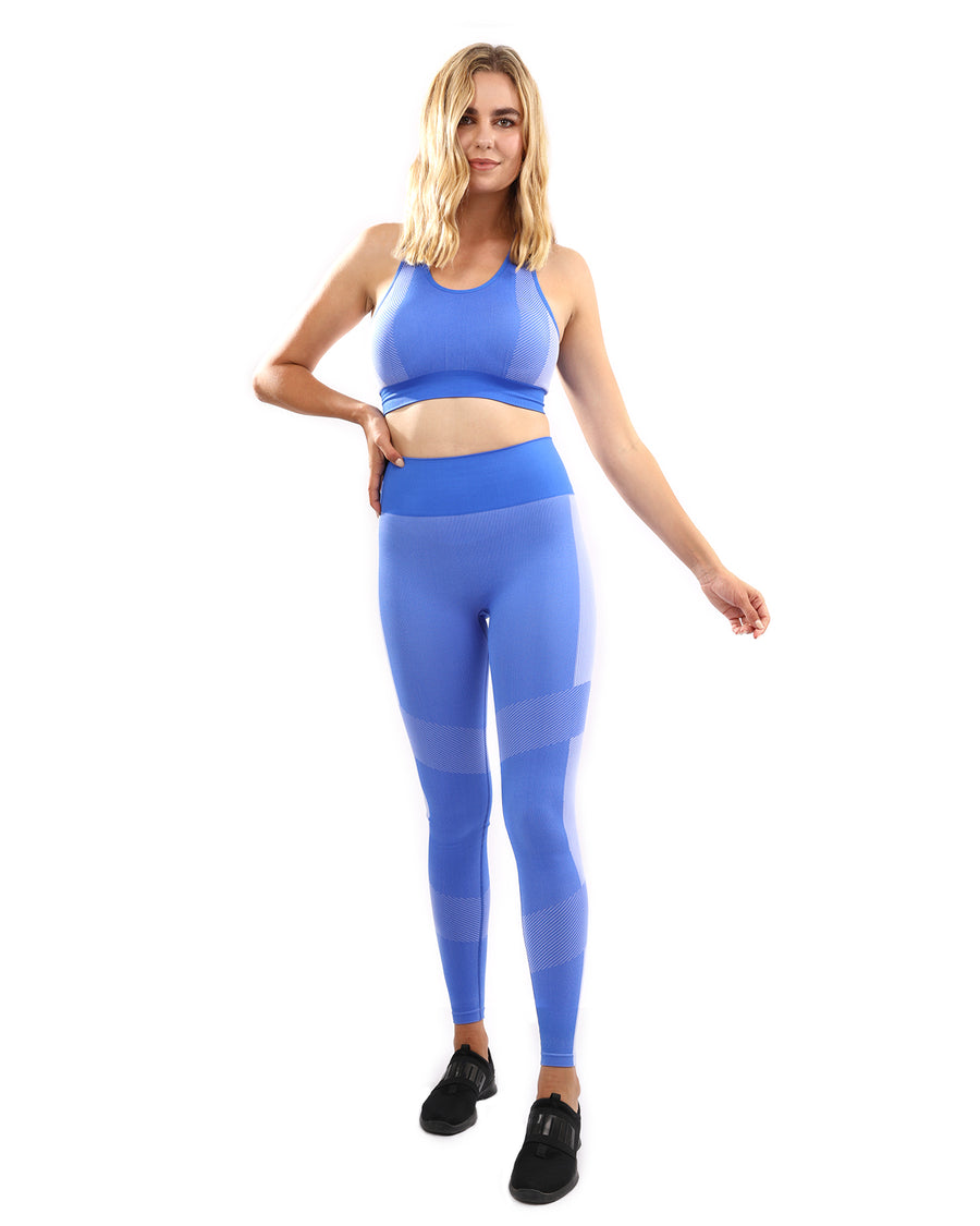 Arleta Seamless Leggings & Sports Bra Set - Blue
