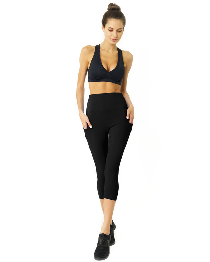 Load image into Gallery viewer, High Waisted Yoga Capri Leggings - Black - Savoy Active