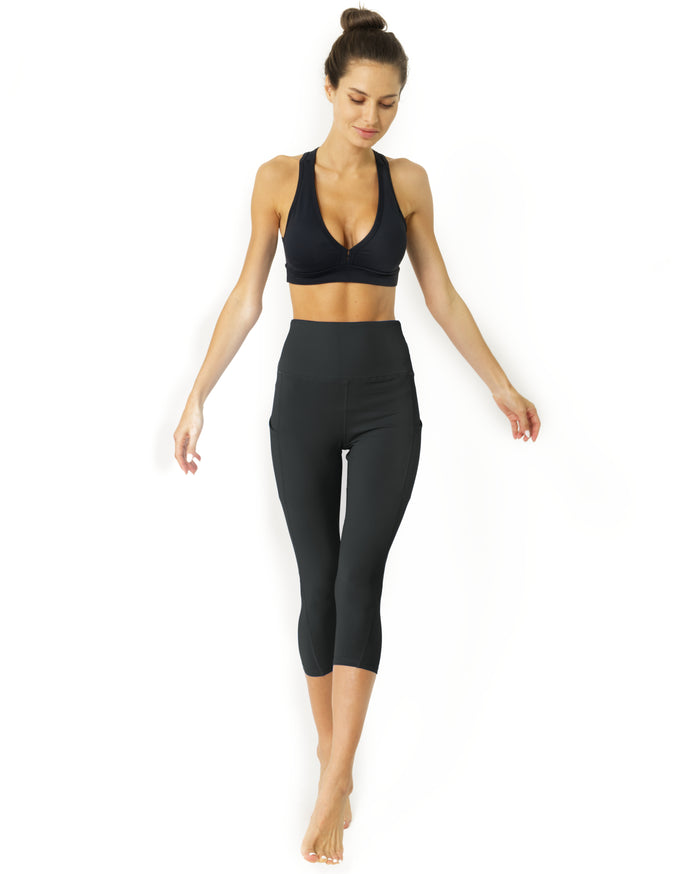 Load image into Gallery viewer, High Waisted Yoga Capri Leggings - Slate Grey - Savoy Active