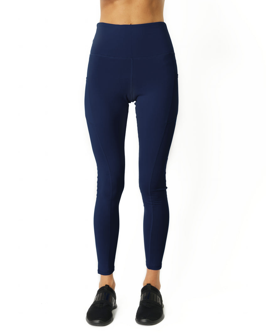 High Waisted Yoga Leggings - Navy Blue - Savoy Active