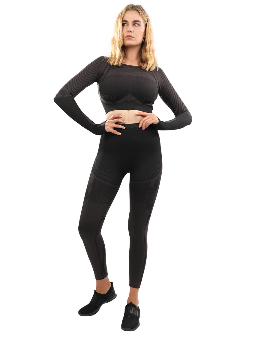 Decata Seamless Leggings & Sports Top Set - Black & Brown