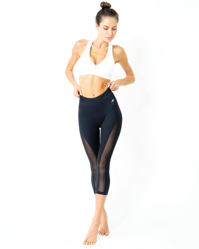 Load image into Gallery viewer, L'espace Low-Waisted Capri Leggings with Mesh Panels and Reflective Strips - Savoy Active