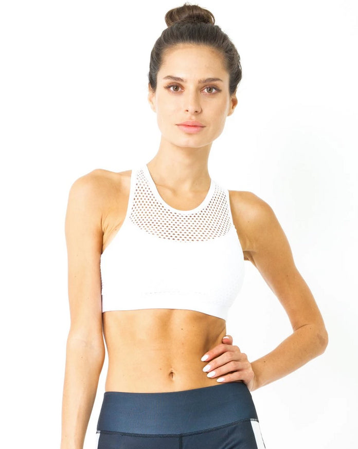Load image into Gallery viewer, Jaxon Mesh Sports Bra - White - Savoy Active
