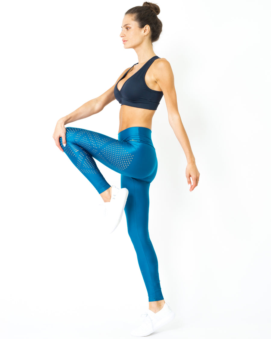 Sculpted Leggings with Sweat Wicking Elastic Fabric - Teal