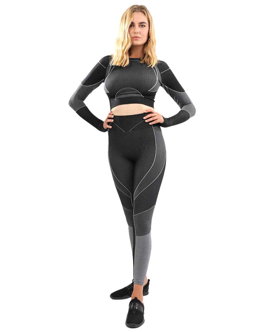 Escolta Seamless Legging & Sports Top Set - Black & Charcoal Grey