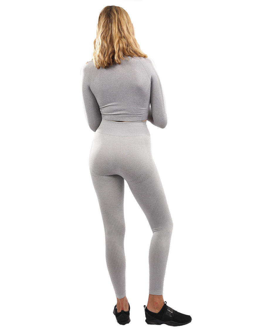 Fratessa Seamless Leggings & Sports Top Set - Grey