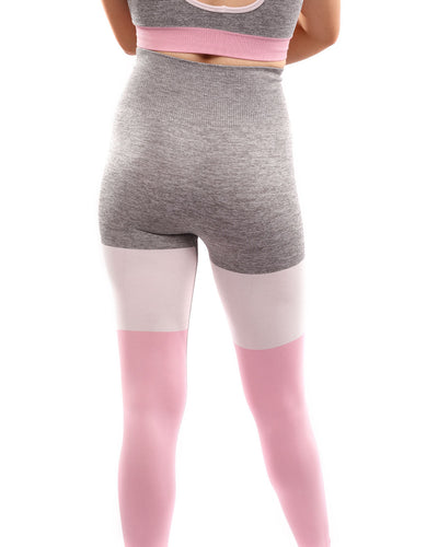Graca Seamless Leggings - Grey with Pink & White