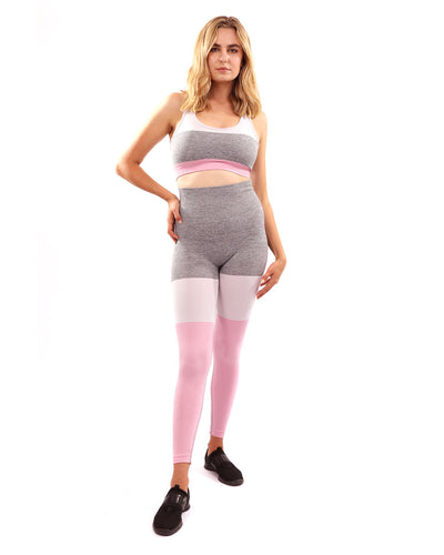 Graca Seamless Leggings & Sports Bra Set - Grey with Pink & White