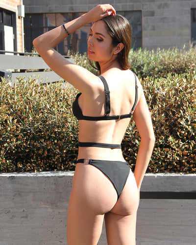 Psara Bandage One-Piece Swimsuit - Black