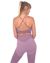 Megara Seamless Sports Bra with Striped Band - Purple
