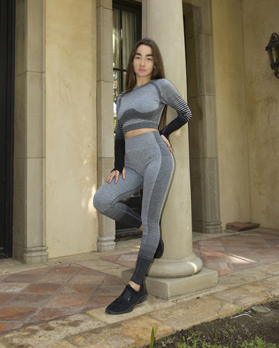 Bocana Seamless Sports Top - Grey & Black