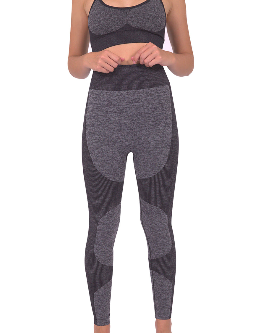 Megara Seamless Legging with Striped Panels - Black
