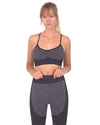 Megara Seamless Sports Bra with Striped Band - Black