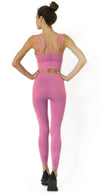 Mesh Seamless Legging with Ribbing Detail - Pink - Savoy Active