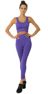 Mesh Seamless Legging with Ribbing Detail - Purple - Savoy Active