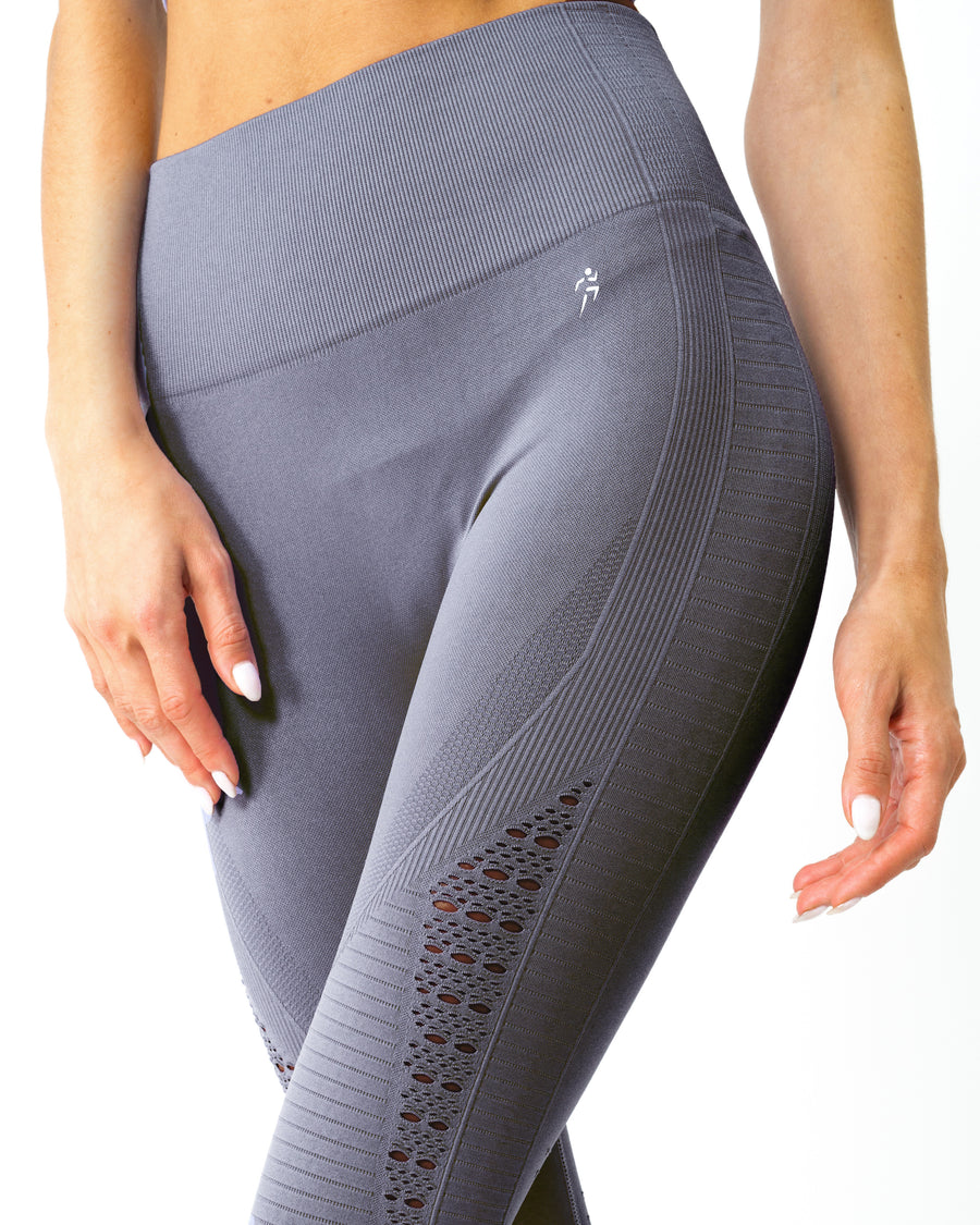 Mesh Seamless Legging with Ribbing Detail - Grey Purple