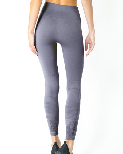 Mesh Seamless Legging with Ribbing Detail - Grey Purple - Savoy Active