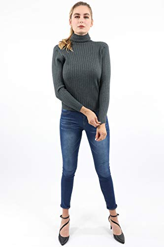 Load image into Gallery viewer, Roxbury Ribbed Turtleneck Sweater - Grey