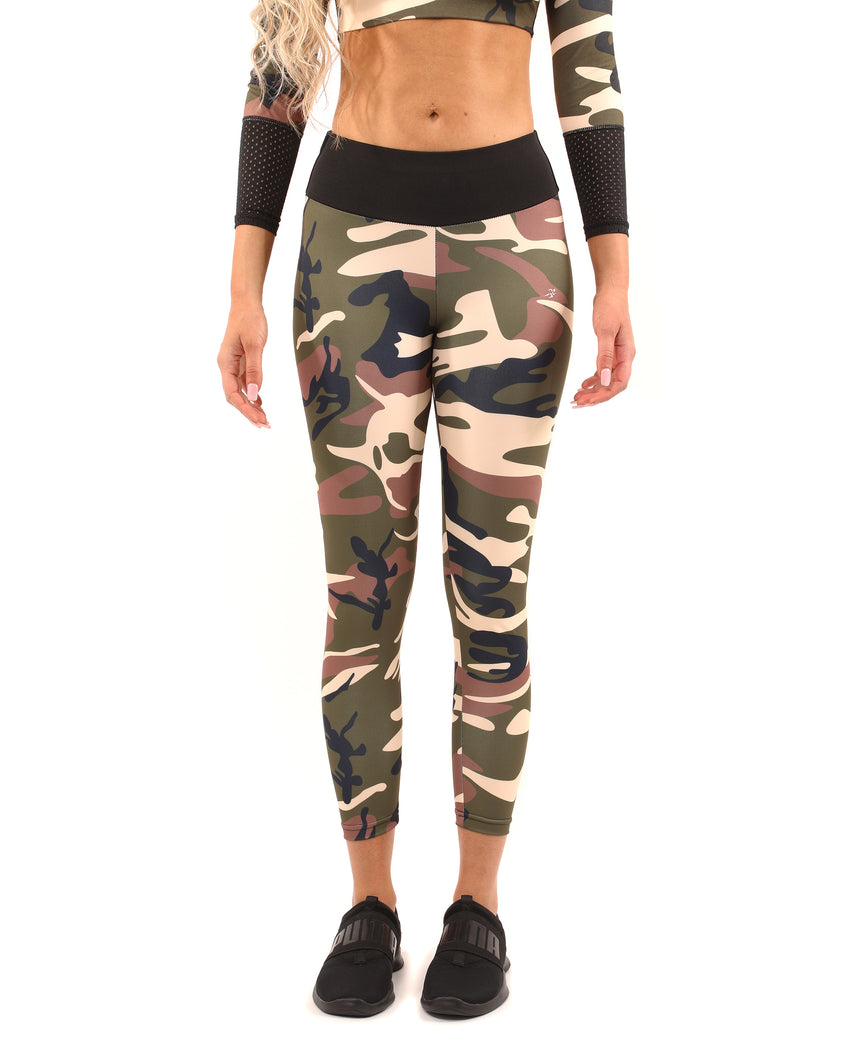 Virginia Camouflage Leggings - Brown/Green - Savoy Active
