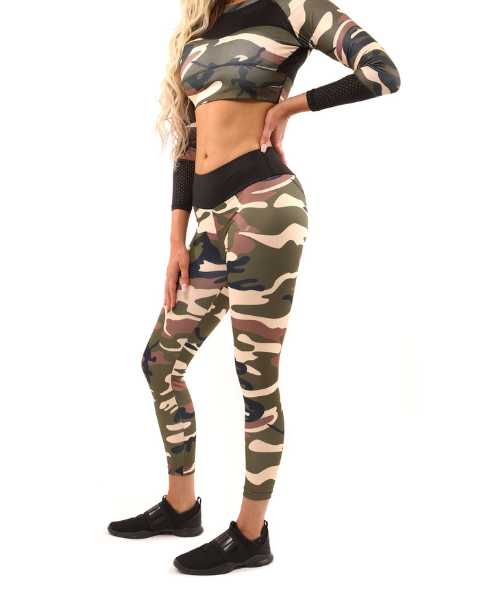 Load image into Gallery viewer, Virginia Camouflage Leggings - Brown/Green - Savoy Active