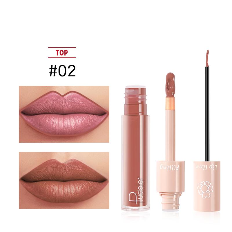 2020 New Pudaier Duo Lip Liner & Matte Liquid Lipstick - Color #02 Light Brown