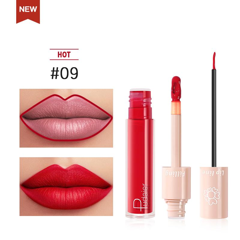 2020 New Pudaier Duo Lip Liner & Matte Liquid Lipstick - Color #09 Cherry Red