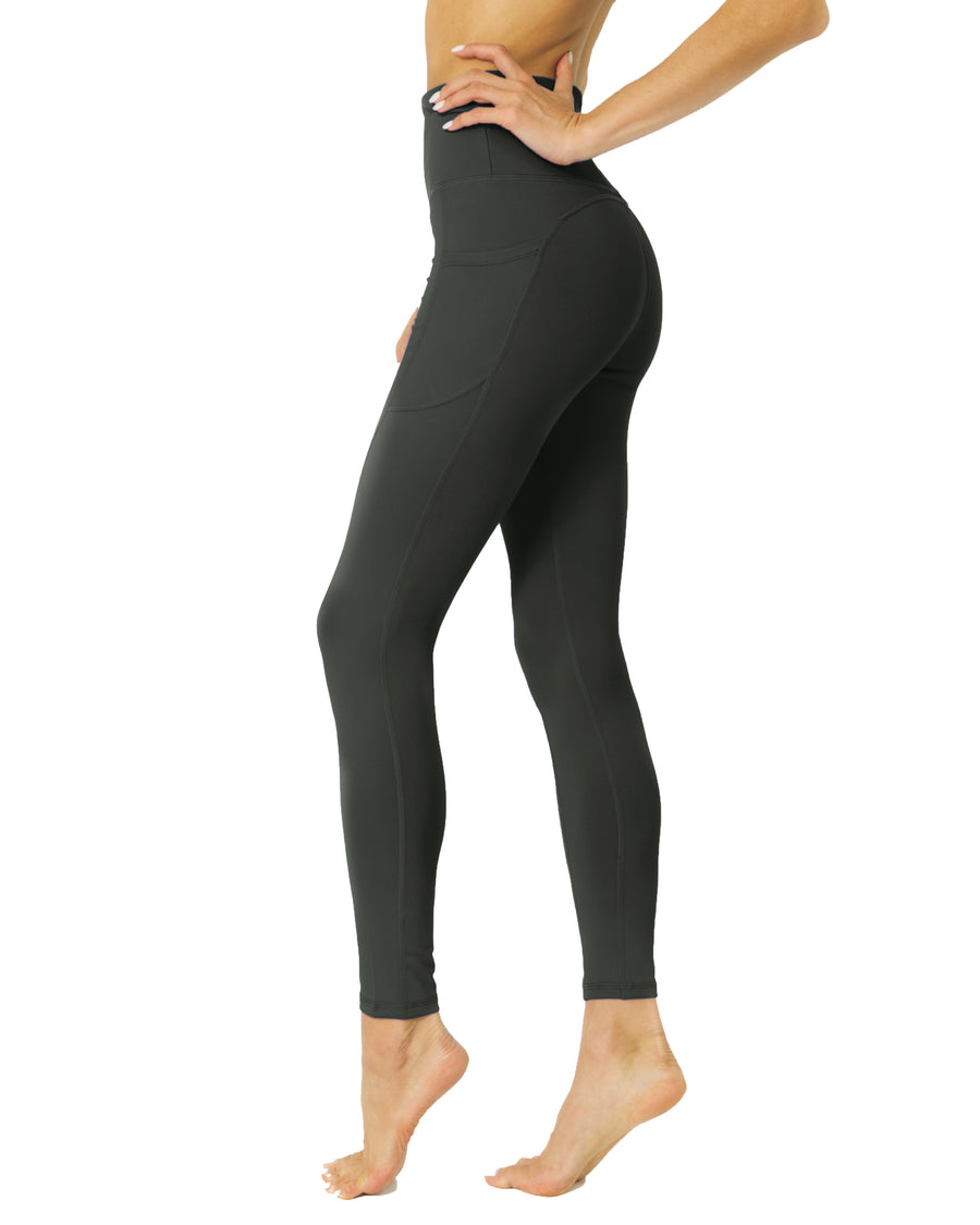 High Waisted Yoga Leggings - Slate Grey - Savoy Active