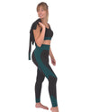 Trois Seamless Jacket, Leggings & Sports Top 3 Set - Black with Teal Blue
