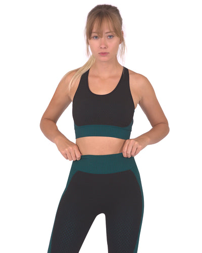 Trois Seamless Sports Bra - Black with Blue