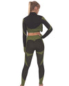 Trois Seamless Jacket, Leggings & Sports Top 3 Set - Black with Green
