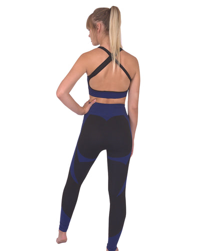 Trois Seamless Leggings & Sports Top 2 Set - Black with Navy
