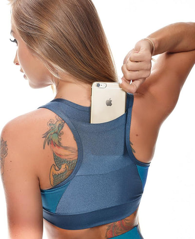 Luxe V-Neck Racerback Sports Bra with Phone Pocket - Blue