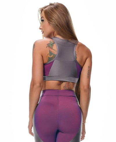 Luxe V-Neck Racerback Sports Bra with Phone Pocket - Purple - Savoy Active