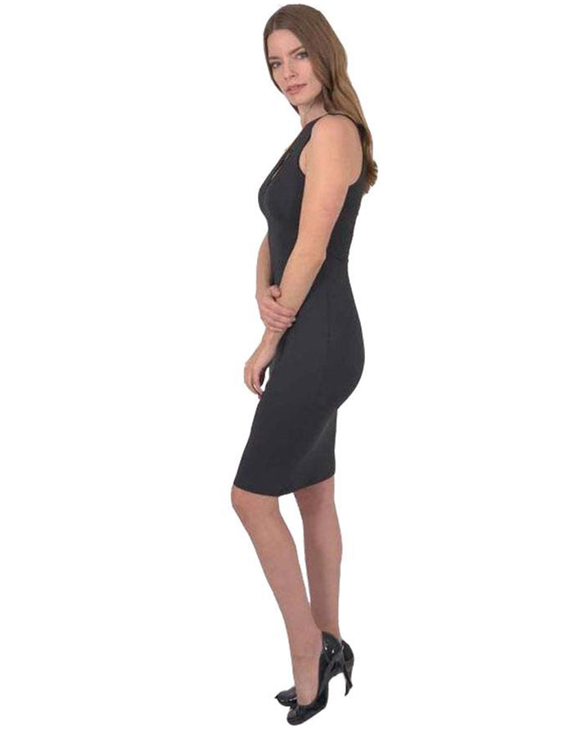Eden Asymmetric Neckline Mini Dress - Black