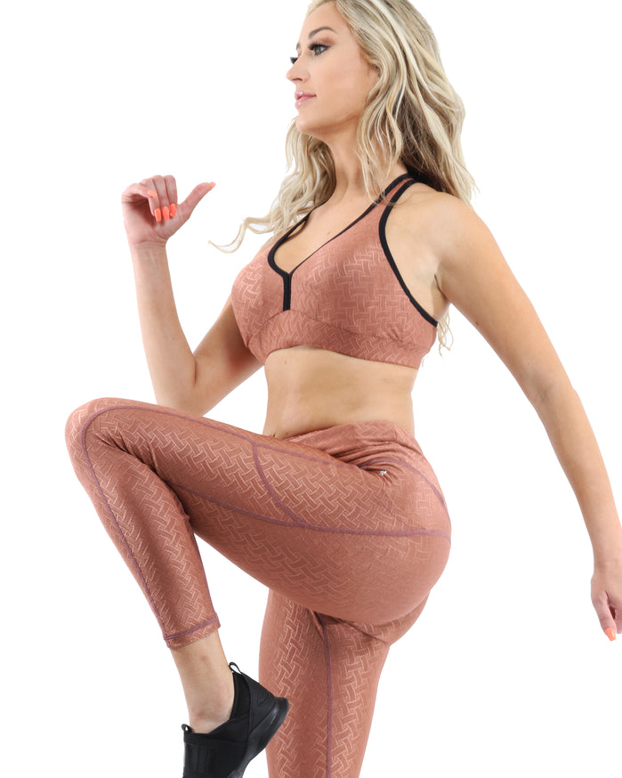 Load image into Gallery viewer, Roma Activewear Set - Leggings & Sports Bra - Copper [MADE IN ITALY] - Savoy Active