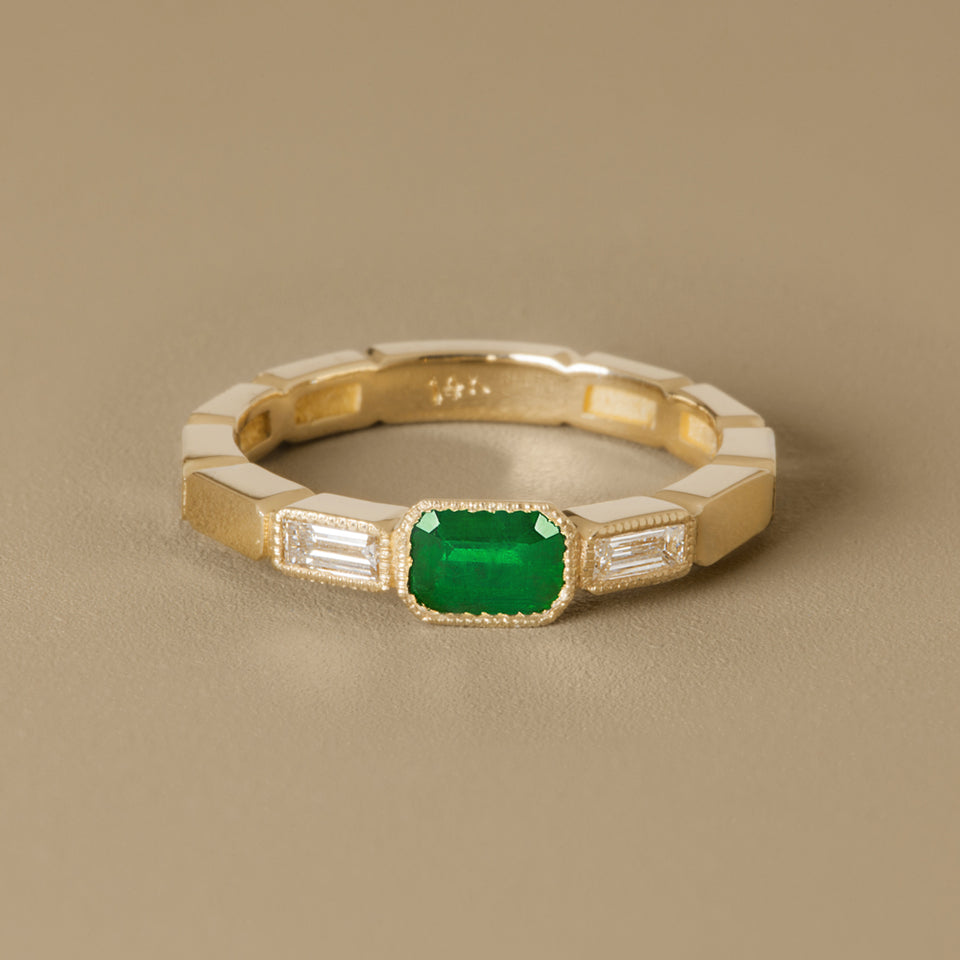 Hortense Jewelry Engagement & Wedding Rings | emerald and diamond gold wedding ring, marquise cut emerald wedding ring, multi stone gold wedding ring