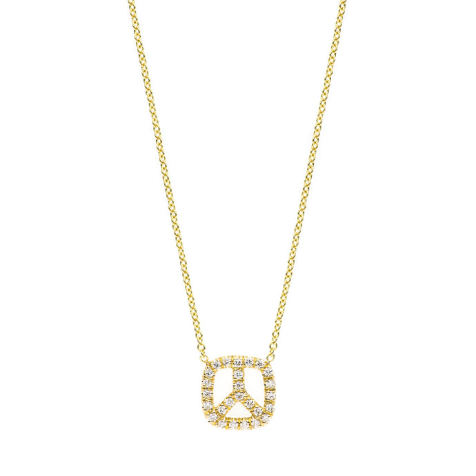 Peace with diamondS Necklace 14K YG 16