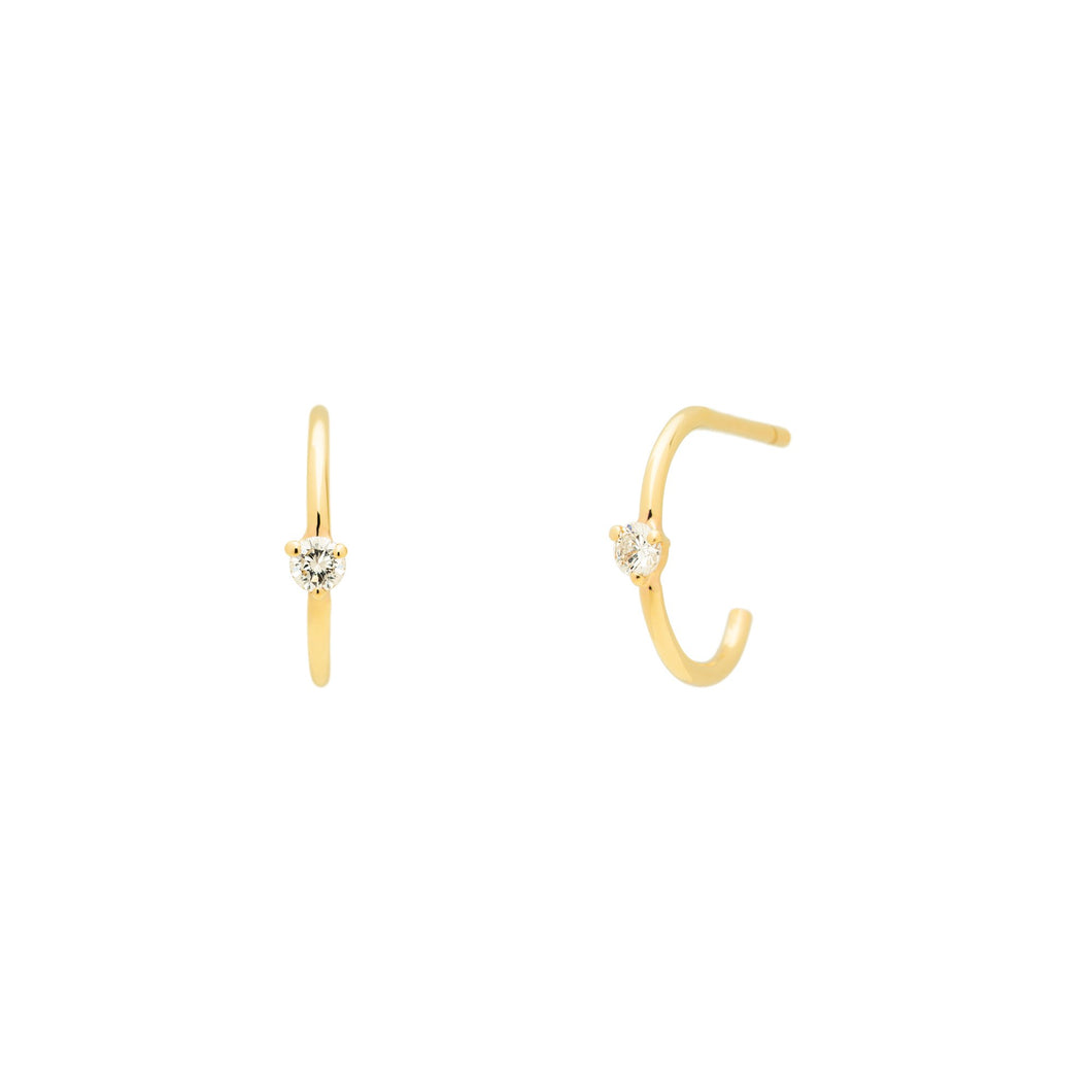 Sparkling Hoops SINGLE 14K YG | Hortense Jewelry - 14k yellow gold diamond earrings, round diamond earrings white gold, pure gold designer earrings