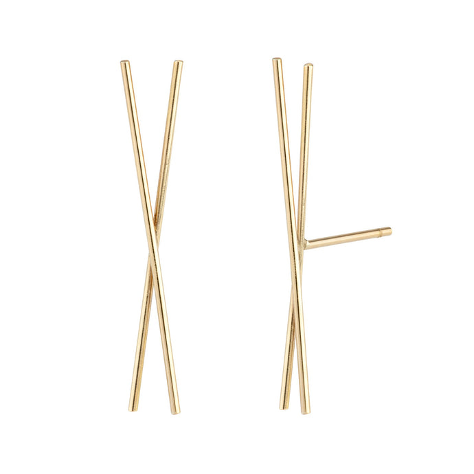 The Chopstick earrings 14KYG Single | Hortense Jewelry - 14k yellow gold diamond earrings, round diamond earrings white gold, pure gold designer earrings