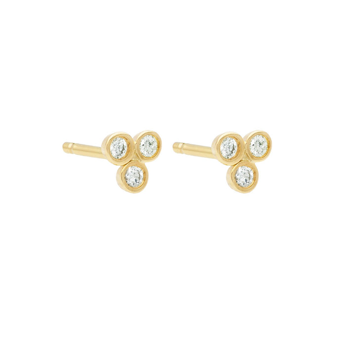 Clover Studs Single YG | Hortense Jewelry - yellow gold bridal earrings, designer bridal earrings, ethical gold earrings