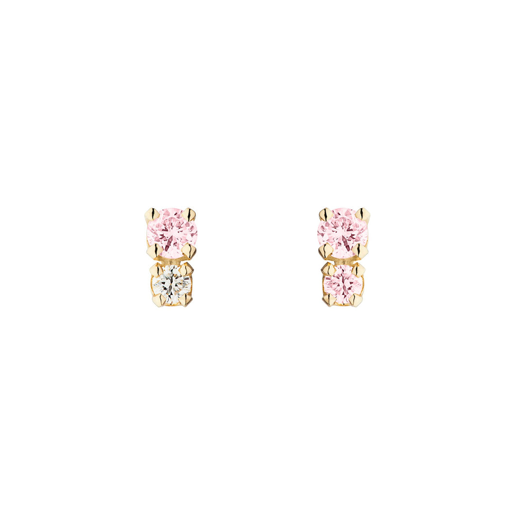 The Double D/Pink Sapphire+ Diamond Single earring with 2 PINK sapphire 14KYG | Hortense Jewelry - yellow gold bridal earrings, designer bridal earrings, ethical gold earrings