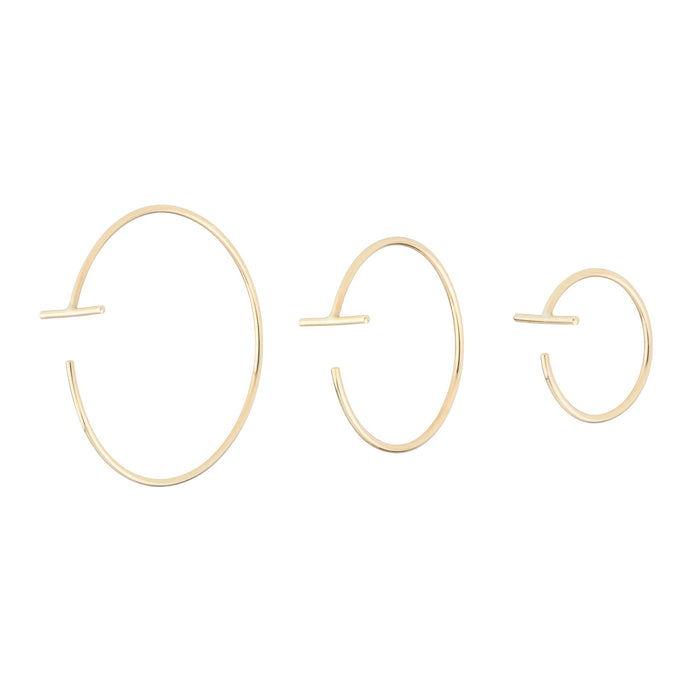 The Bamboo Hoops 14KYG Single Small | Hortense Jewelry - 14k yellow gold diamond earrings, round diamond earrings white gold, pure gold designer earrings