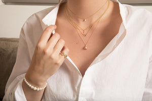 The Mini-Mini Me Pearl Necklace | Hortense Jewelry - affordable designer necklaces, handcrafted ethical necklaces, exquisite gold necklace