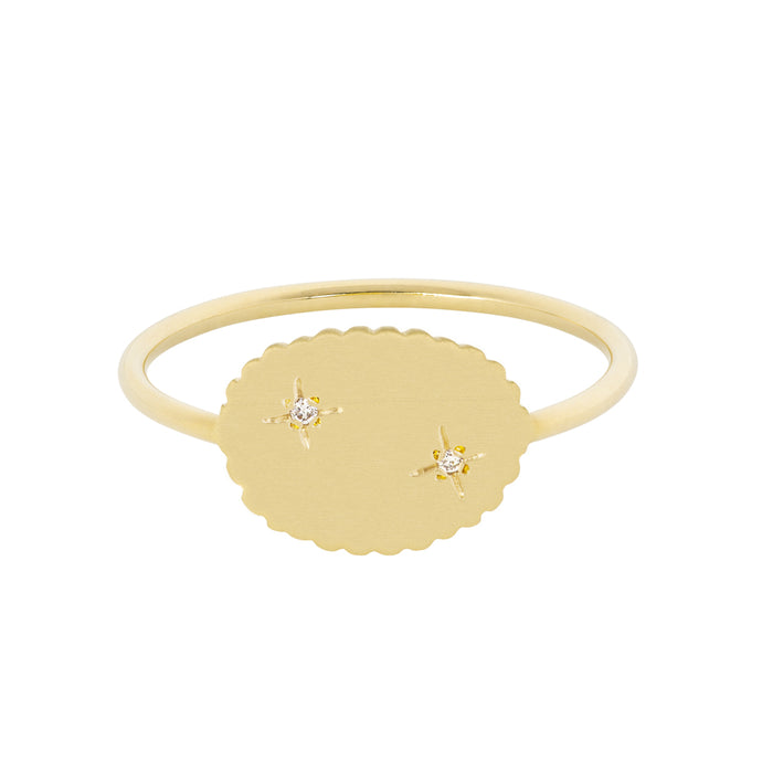 The Bubble Signet Ring-2 diamonds | Hortense Jewelry - ethical diamond rings, delicate designer rings, designer gold rings